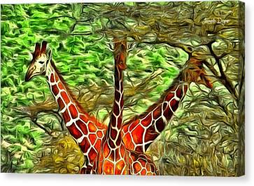 Three Heads Giraffe - Da Canvas Print by Leonardo Digenio