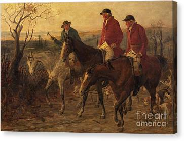 Three Jolly Huntsmen Canvas Print by Randolph Caldecott