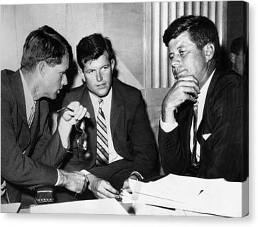 Three Kennedy Brothers At Rackets Canvas Print by Everett