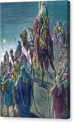 Three Kings  Christmas Card Canvas Print by Gustave Dore