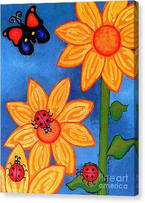Three Ladybugs And Butterfly Canvas Print by Genevieve Esson