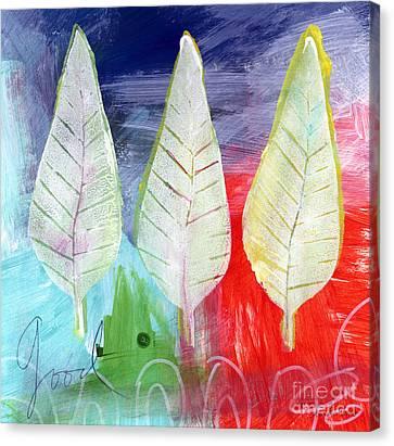 Three Leaves Of Good Canvas Print by Linda Woods