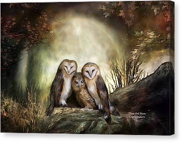 Three Owl Moon Canvas Print by Carol Cavalaris