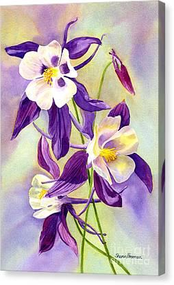 Three Purple Columbine Blossoms Canvas Print by Sharon Freeman
