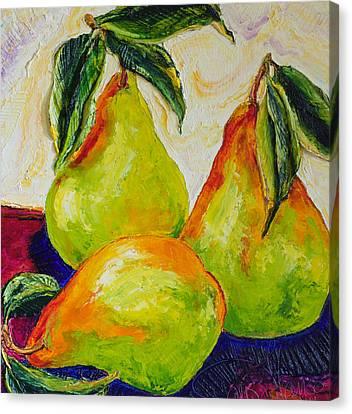 Three Ripe Pears Canvas Print by Paris Wyatt Llanso