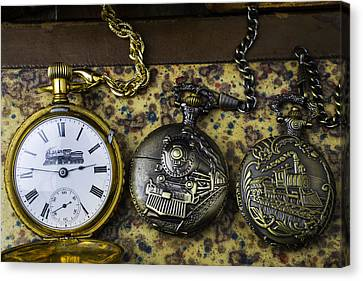 Three Train Pocket Watches Canvas Print by Garry Gay