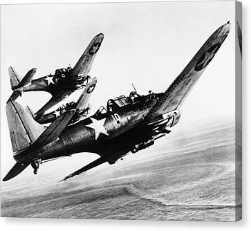 Three U.s. Navy Dauntless Dive Bombers Canvas Print by Everett