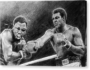 Thrilla In Manilla Pencil Drawing Canvas Print by David Rives