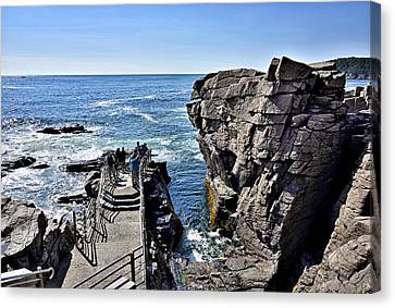 Thunder Hole - Acadia National Park - Maine Canvas Print by Brendan Reals