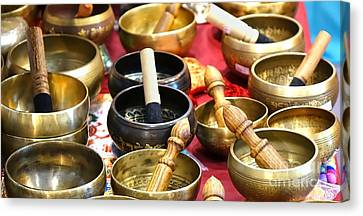 Tibetan Bronze Singing Bowls Canvas Print by Yali Shi