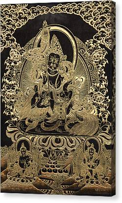 Tibetan Thangka - Vaishravana - God Of Wealth And Regent Of The North Canvas Print by Serge Averbukh