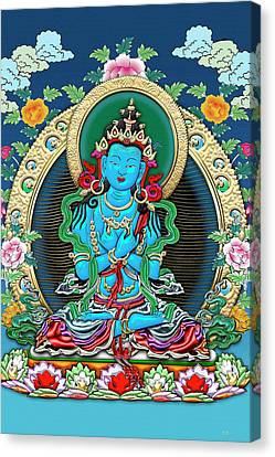 Tibetan Thangka  - Vajradhara -  Dharmakaya Buddha Canvas Print by Serge Averbukh
