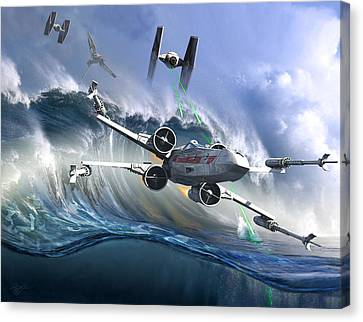 Battle Over Kamino - The Tie Dal Wave Canvas Print by Kurt Miller