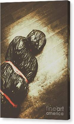 Tied And Wrapped Up Body In Garbage Bags Canvas Print by Jorgo Photography - Wall Art Gallery