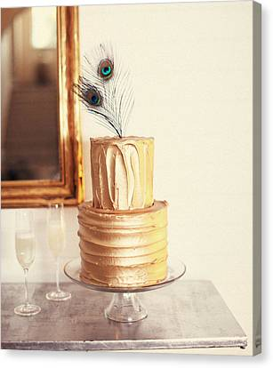 Tiered Cake With Peacock Feathers On Top Canvas Print by Gillham Studios