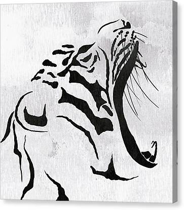 Tiger Animal Decorative Black And White Poster 5 - By  Diana Van Canvas Print by Diana Van