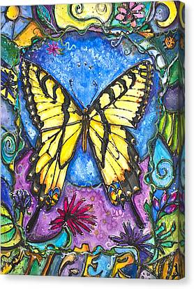 Tiger Butterfly Children Of The Earth Canvas Print by Patricia Allingham Carlson