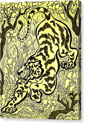 Tiger In The Jungle Canvas Print by Paul Elie Ranson
