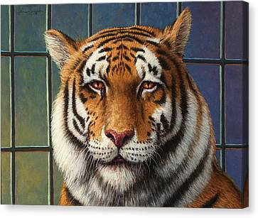 Tiger In Trouble Canvas Print by James W Johnson