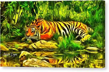 Tiger Resting Canvas Print by Leonardo Digenio