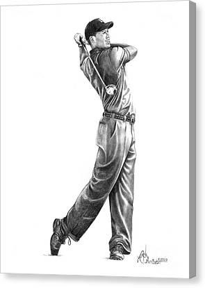 Tiger Woods Full Swing Canvas Print by Murphy Elliott
