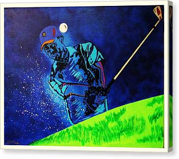 Tiger Woods-playing In The Sandbox Canvas Print by Bill Manson