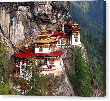 Tigers Nest Bhutan Canvas Print by Jim Kuhlmann