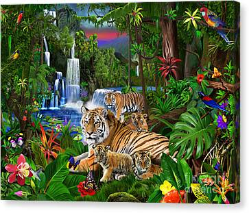 Tigers Of The Forest Canvas Print by Gerald Newton
