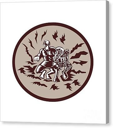 Tiitii Wrestling God Of Earthquake Circle Woodcut Canvas Print by Aloysius Patrimonio