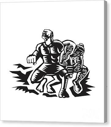 Tiitii Wrestling God Of Earthquake Woodcut Canvas Print by Aloysius Patrimonio