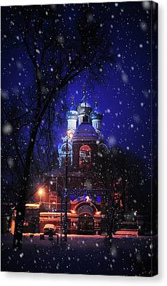 Tikhvin Church 1. Snowy Days In Moscow Canvas Print by Jenny Rainbow