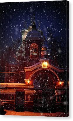 Tikhvin Church Gates. Snowy Days In Moscow Canvas Print by Jenny Rainbow