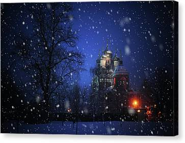 Tikhvin Church. Snowy Days In Moscow Canvas Print by Jenny Rainbow