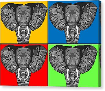 Tiled Elephants Canvas Print by Kathleen Sartoris