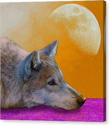 Timber Wolf Under The Moon Canvas Print by Tina B Hamilton