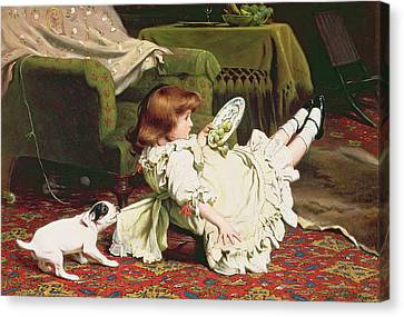 Time To Play Canvas Print by Charles Burton Barber