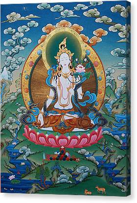 Timeless Beauty. White Tara Canvas Print by Binod Art School