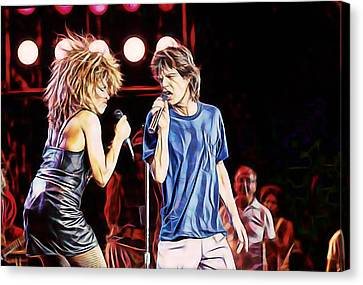 Mick Jagger Poster Canvas Print featuring the mixed media Tina Turner And Mick Jagger Collection by Marvin Blaine