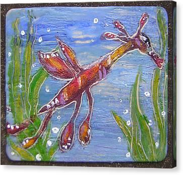 Tiny Anthropomorphic Sea Dragon 2 Canvas Print by Michelley QueenofQueens
