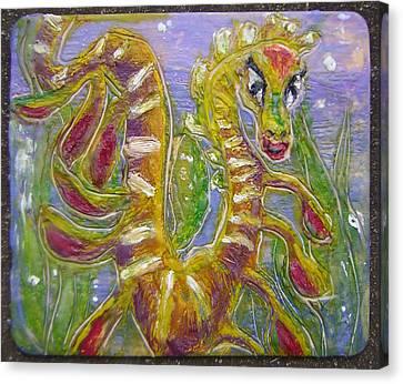Tiny Anthropomorphic Sea Dragon 3 Canvas Print by Michelley QueenofQueens