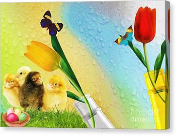 Tiptoe Through The Tulips Canvas Print by Liane Wright
