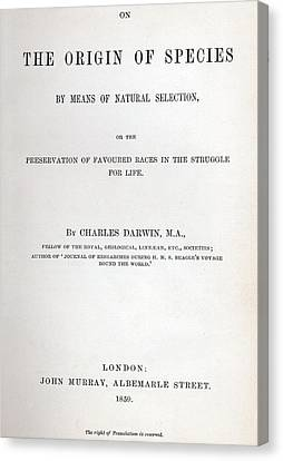 Title Page Of The Origin Of Species By Charles Darwin Canvas Print by Charles Darwin