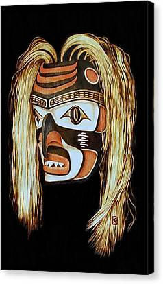 Tlingit Shark Mask In Color Canvas Print by Cynthia Adams