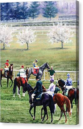 To The Gate At Keeneland Canvas Print by Thomas Allen Pauly