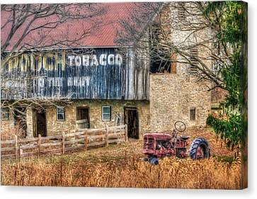 Tobacco Tractor Canvas Print by Lori Deiter