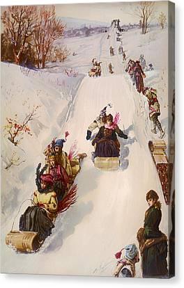 Tobogganing  Canvas Print by Mountain Dreams