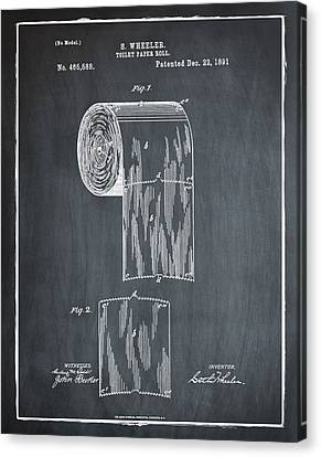 Toilet Paper Roll Patent 1891 Chalk Canvas Print by Bill Cannon