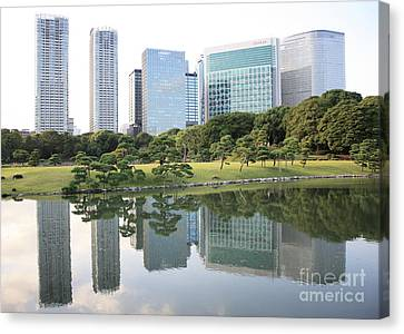 Tokyo Skyline Reflection Canvas Print by Carol Groenen