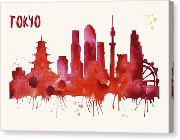 Tokyo Skyline Watercolor Poster - Cityscape Painting Artwork Canvas Print by Beautify My Walls