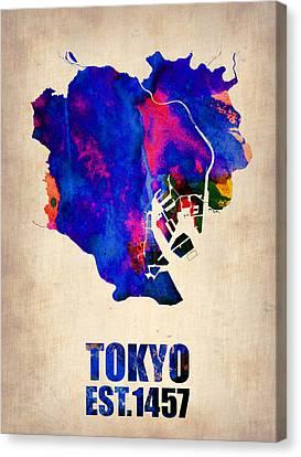 Tokyo Watercolor Map 2 Canvas Print by Naxart Studio